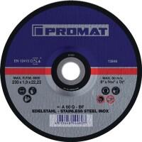 Trennscheibe INOX D180x1,5mm gekr.INOX Bohr.22,23mm PROMAT